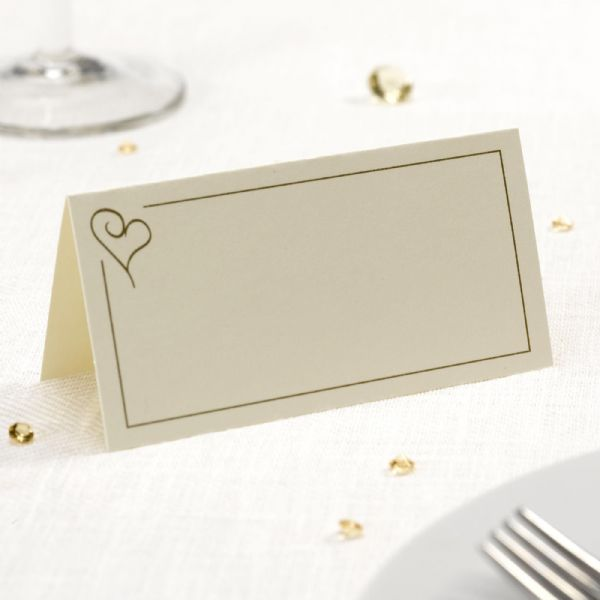 Contemporary Heart Place Cards - Ivory & Gold (50)